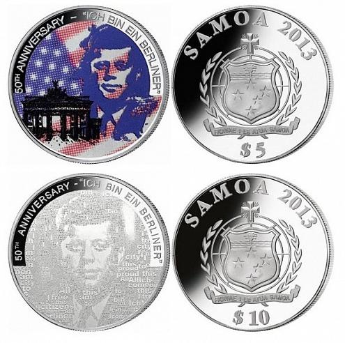 Самоа отчеканило монеты в честь фразы Дж. Кеннеди  «Я - берлинец»