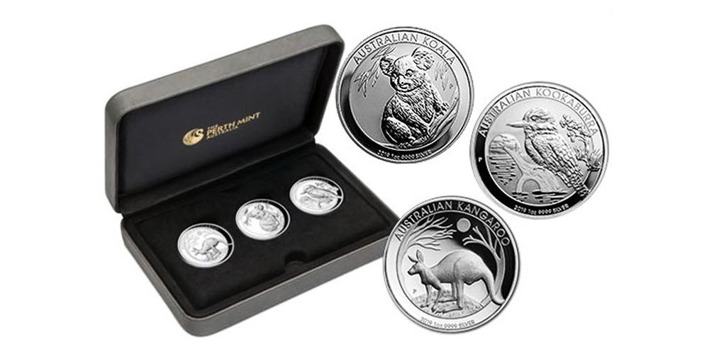 набор серебряных монет с животными-символами Австралии