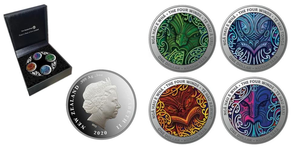 4 монеты Ветру Новая Зеландия 2020