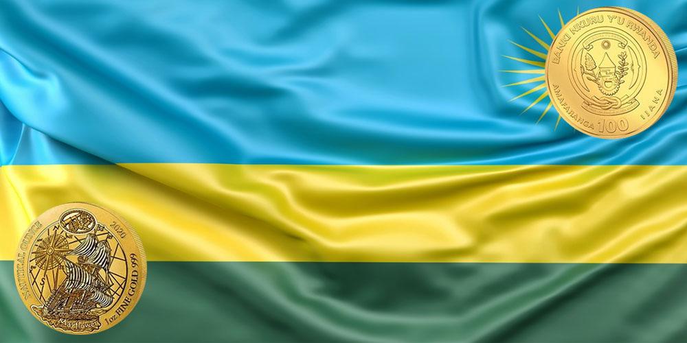Парусник Мейфлауэр на золотой монете Руанды