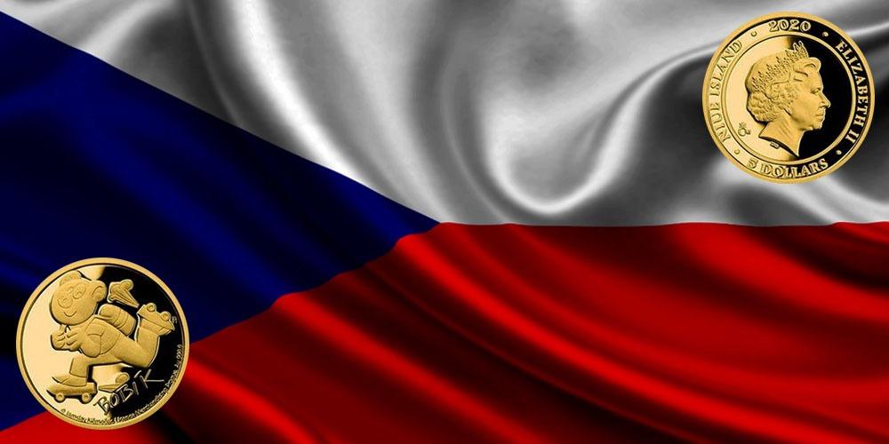 Поросенок Бобик на золотой монете Чехии
