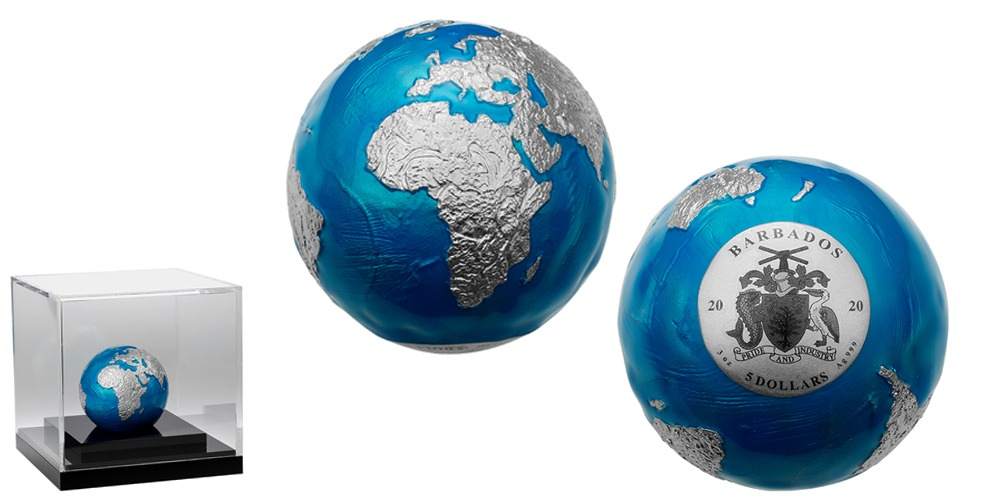 Синий мрамор Планета Земля Барбадос 2020