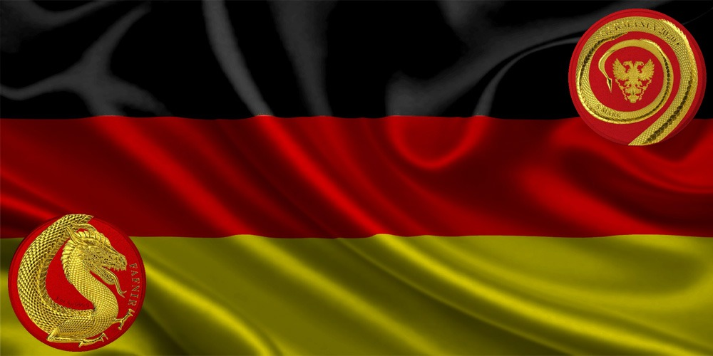 дракон Фафнир красно-желтое золото Германия 2020