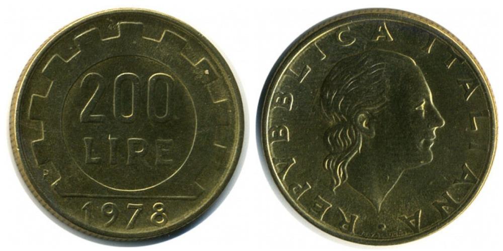 Монета 200 лир 1978 цена как подобрать капсулу для монеты