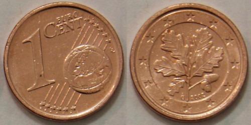 1 евроцент 2002 «G» Германия