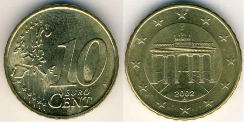 10 евроцентов 2002 «А» Германия