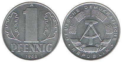 1 пфенниг 1968 «А» ГДР