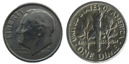 10 центов 1993 P США
