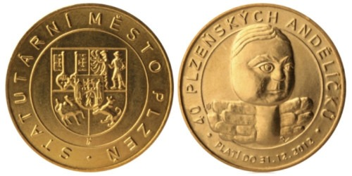 1 сувенирный дукат 2011 Чехия — город Пльзень