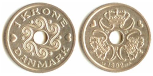 1 крона 1992 Дания