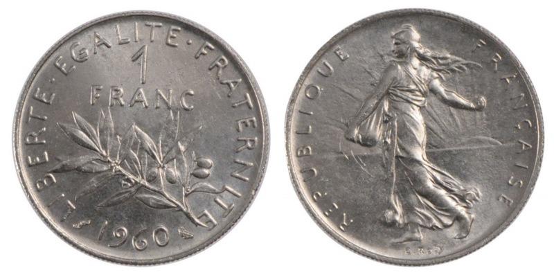 Франция 1 франк 1960 казакстан 20 тенге 2011 года цена