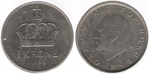 1 крона 1989 Норвегия