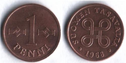 1 пенни 1968 Финляндия (медь)