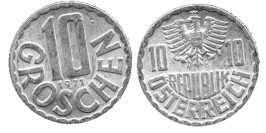 10 грошей 1971 Австрия