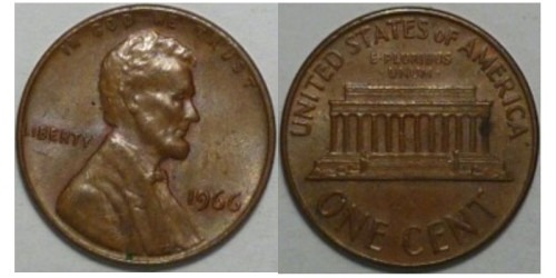 1 цент 1966 США