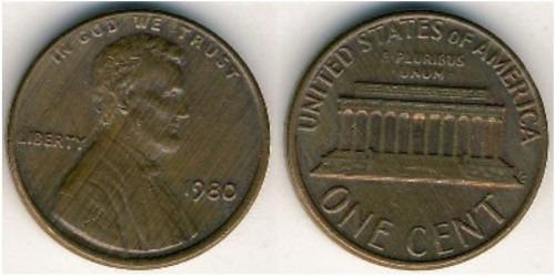 1 цент 1980 США