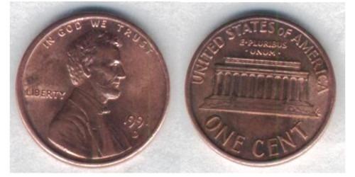 1 цент 1991 D США