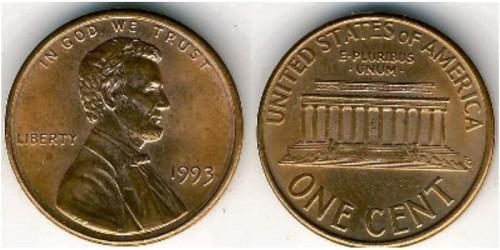 1 цент 1993 США