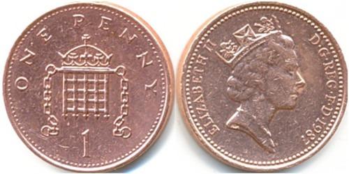 1 пенни 1987 Великобритания