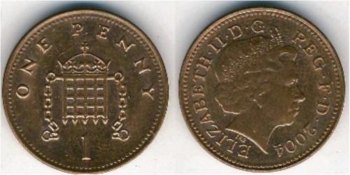 1 новый пенни 2004 Великобритания