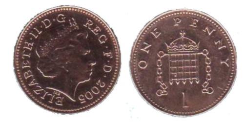 1 пенни 2005 Великобритания