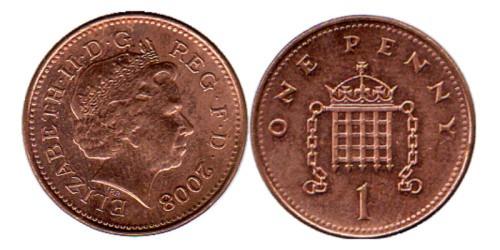1 пенни 2008 Великобритания