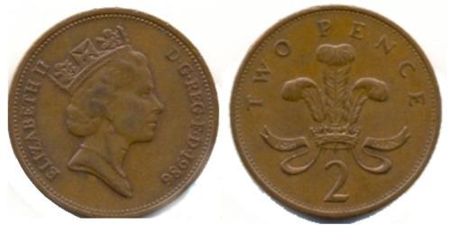 2 пенса 1986 Великобритания
