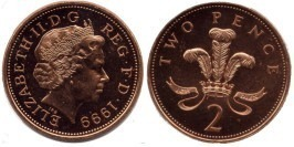 2 пенса 1999 Великобритания — магнитная