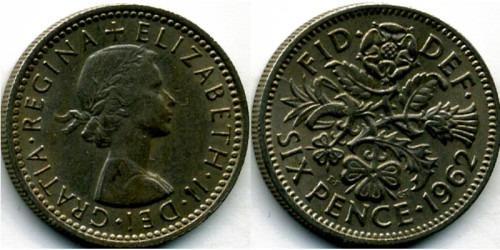 6 пенсов 1962 Великобритания