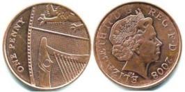 1 пенни 2008 Великобритания — Фрагмент герба британской королевской семьи