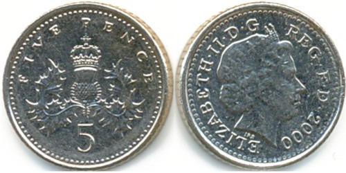 5 пенсов 2000 Великобритания