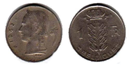 1 франк 1962 Бельгия (FR)