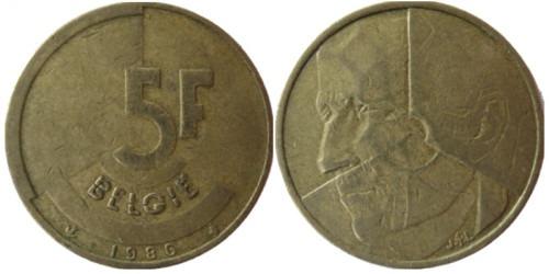 5 франков 1986 Бельгия (VL)
