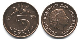 5 центов 1953 Нидерланды