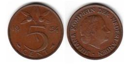 5 центов 1954 Нидерланды — разъединенная буква Е