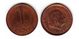 1 цент 1966 Нидерланды — маленькие цифры
