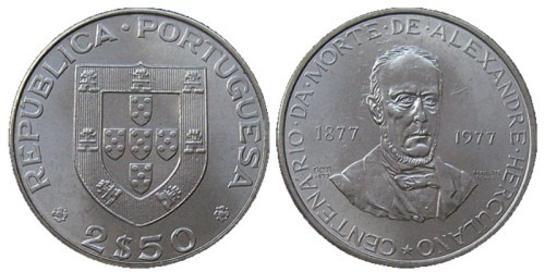 2.5 эскудо 1977 Португалия — 100 лет со дня смерти Алешандре Эркулано