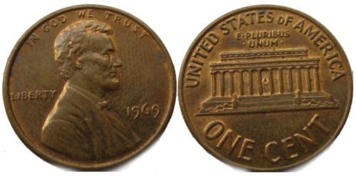 1 цент 1969 США