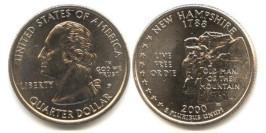 25 центов 2000 Р США — Нью-Гэмпшир — New hampshire UNC