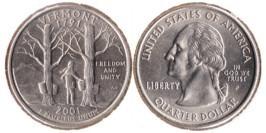 25 центов 2001 Р США — Вермонт