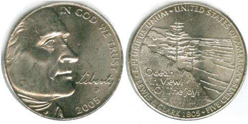 5 центов 2005 Р США — Вид на океан