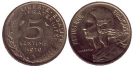 5 сантимов 1970 Франция