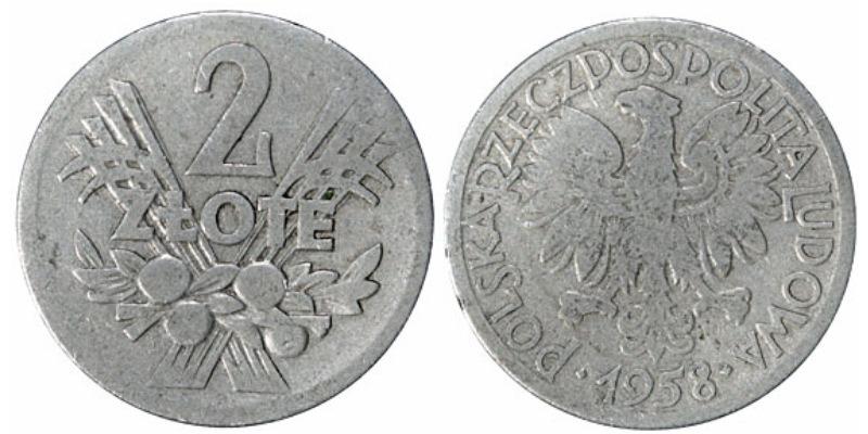 Сколько стоит монета 2 злота 1958 года 100 рублей ссср монета