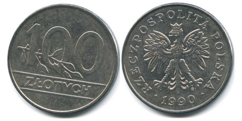 Стоимость монет польши 100 злотых 1990 альбом для монеты рубль