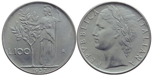 100 лир 1957 Италия
