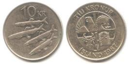 10 крон 1987 Исландия