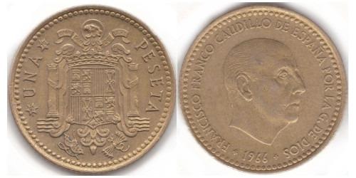 1 песета 1966 Испания — 70 внутри звезды