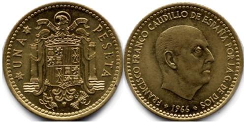 1 песета 1966 Испания — 69 внутри звезды