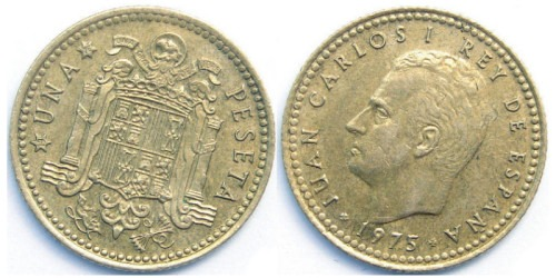 1 песета 1975 Испания — 76 внутри звезды
