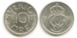 10 эре 1982 Швеция